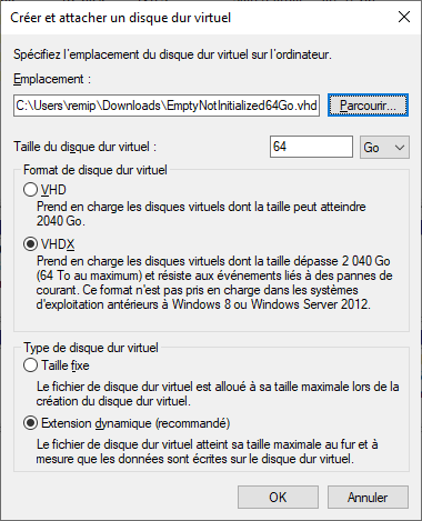 Virtual Disk creation on Windows